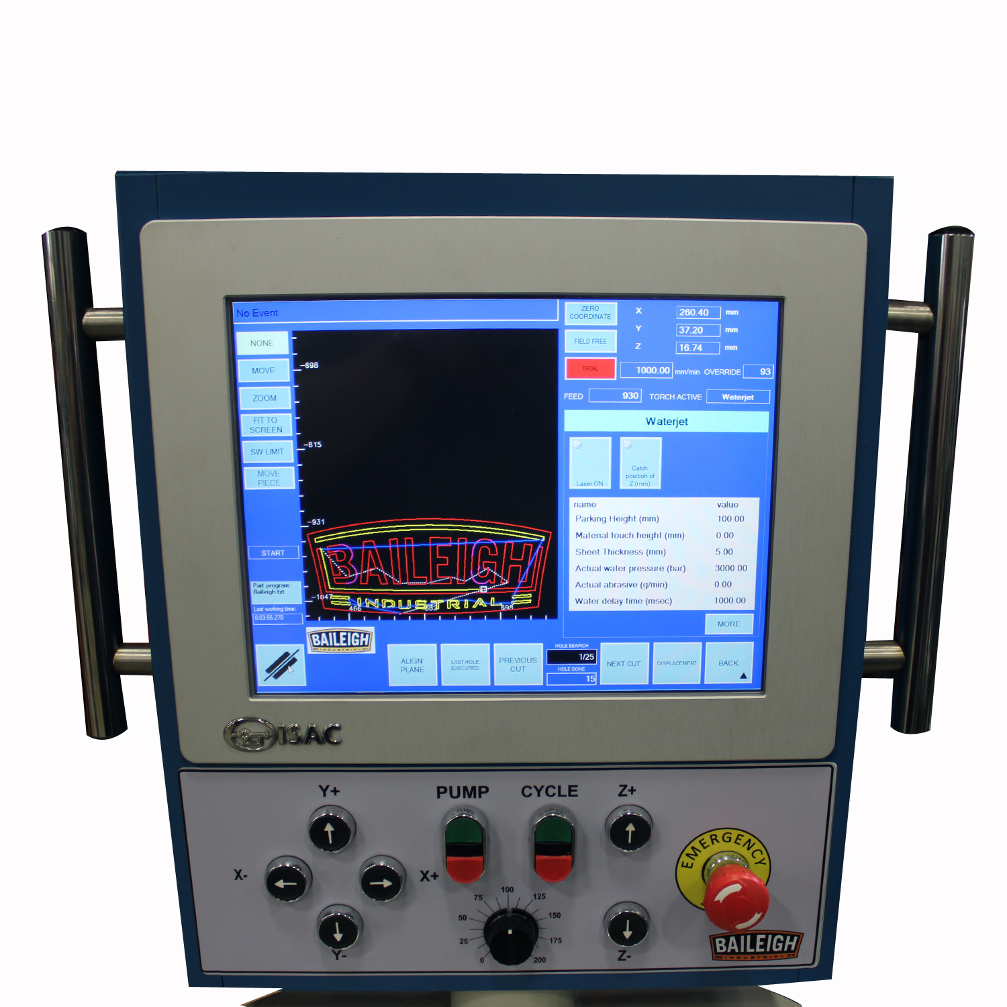 water jet wj 44cnc baileigh industrial baileigh industrial direct drive pump touchscreen